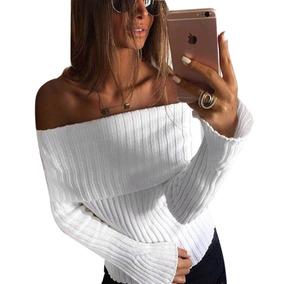 Blusa Feminina Tricot Tricô Canelado Ombro A Ombro Promoção