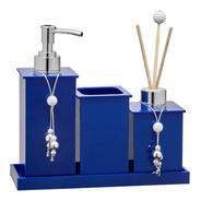 Kit Saboneteira Banheiro Em Acrílico Azul Perolado 04 Itens