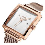 Reloj Julius Ja-1207 Mujer Dama Malla Tejida Acero Cuadrado.