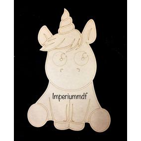 Aplique De Parede Unicornio Sentado Mdf Cru 50cm