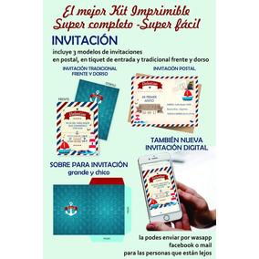 Kit Imprimible Nautico Celular Cumpleaños Marinero
