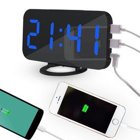 Relógio De Mesa Digital Led E Alarme Toque De Carregamento