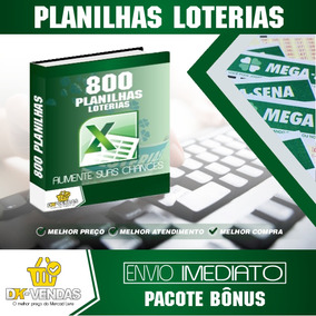 Kit 800 Planilhas Loterias Mega, Dupla, Lotofácil, Quina...