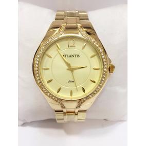 Relógio Feminino Original Atlantis Strass Dourado Marca Swar