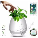 Vaso Planta Musical Sensor Toque Caixa Som Bluetooth Led