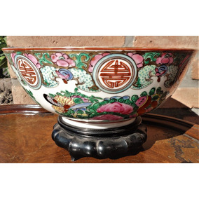 Antiguo Centro Porcelana Oriental Sello Rojo Con Pie