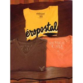Lote De Camisetas American Eagle Y Aeropostale Mediano