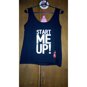 Musculosa Negra Mujer They Rolling Stones Lengua