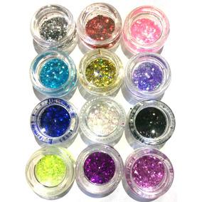 Glitter Encapsulado Flocado Para Unhas 12 Cores Hexagonal