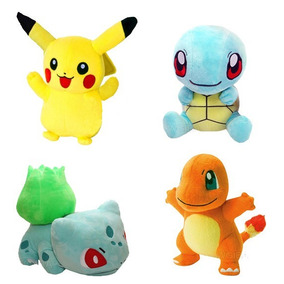 Kit 4 Pelucias Pokemon Pikachu Bulbasaur Charmander Squirtle