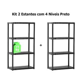 Kit 2 Estantes Plásticas 4 Prateleiras 137x70x38 Cm Preto