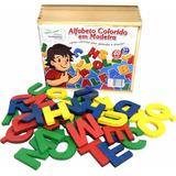 Alfabeto Móvel Colorido Em Madeira - Brinquedo Educativo
