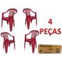 Cadeira Poltrona De Plastico Vinho Empilhável Emb. 04 Peças