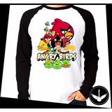 Manga Longa Angry Birds Jogo Blusa Camisa Comprida E02