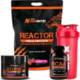 Kit Mega Protein (morango) + Bcaa + Pre-treino