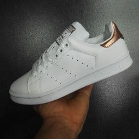 Tenis Zapatillas adidas Stan Smith Blanca Dorada Mujer Env