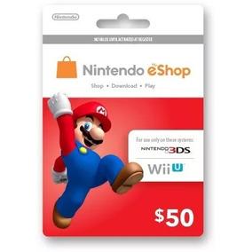 Cartão Nintendo Switch 3ds Wii U Eshop Card $50 Imediato!