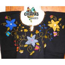 Hermosa Blusa De Chiapas Bordada A Mano / Talla 2xl / Manta
