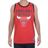 Camiseta Masculina New Era Regata Nba Chicago Bulls Vermelha