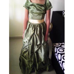 Hermoso Y Elegante Vestido Verde De Niña, Talla 7-8