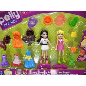 Kit 02 Bonecas Polly Pocket + 16 Acessorios Com Embalagem