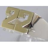 Anillo Sello Plata925 Oro18k Calado 2 Letras Números Inicial