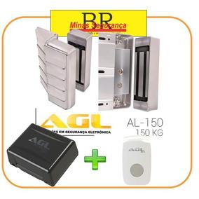 Eletroímã Agl + Suporte Porta De Vidro + No-break + Botoeira