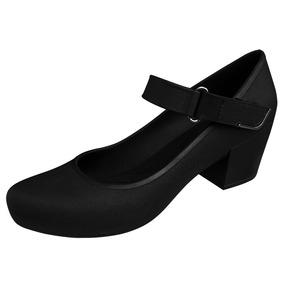 Sapato Preto Boneca Salto Baixo Medio Grosso Profissional