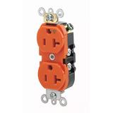 Contacto Dúplex Industrial Polarizado Color Naranja