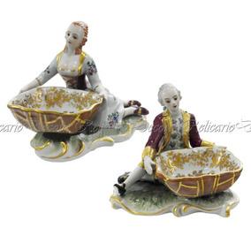 Par De Saboneteira Casal Porcelana Nobre Biscuit Decoração