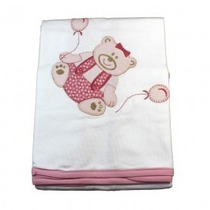 Manta Fustão Com Bordado De Urso Rosa