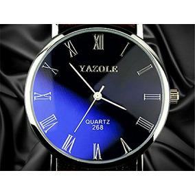 Relógio Masculino Pulso Preto Barato Pulseira Couro Promoção