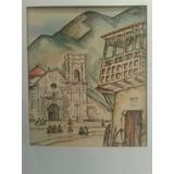 Pintura Acuarela Tinta Cuzco Balcon Colonial Iglesia 1946
