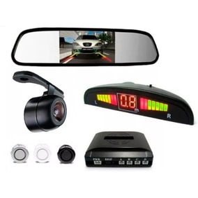 Kit Retrovisor Lcd Com Camera + Sensor De Estacionamento Re