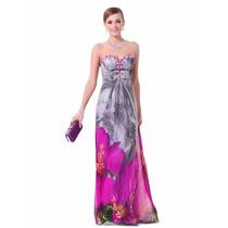 Vestido Festa Formatura Madrinha 15 Anos Floral Luxo Brilho