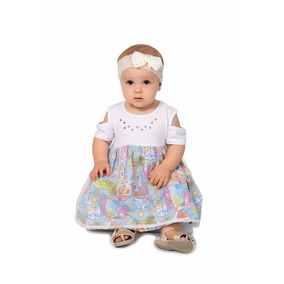 Vestido Cotton C/sobreposição De Filó E Shorts Quebra Cabeça