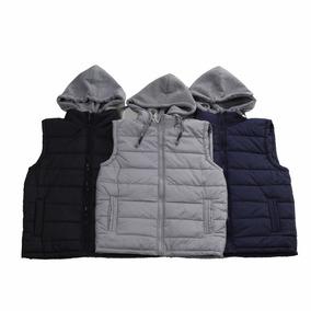 Colete Masculino Inverno Nylon Capuz Moletom #1033#