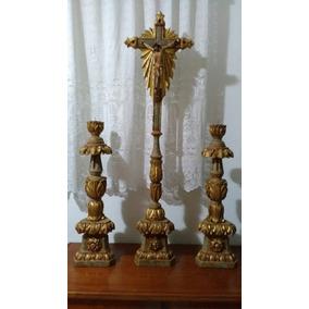 Castiçais Talhados Em Madeira (2 ) + Um Crucifixo Sec. Xix