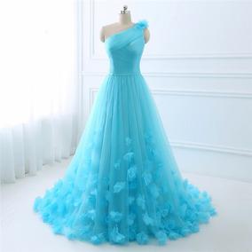 Vestido Fiesta De Noche Beige Azul Envio Gratis !