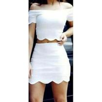 2 Conjunto Saia Blusa Feminina Cropped + Vestido Pedraria