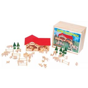 Brinquedo Pedagógico - Super Fazendinha 45 Peças Em Madeira