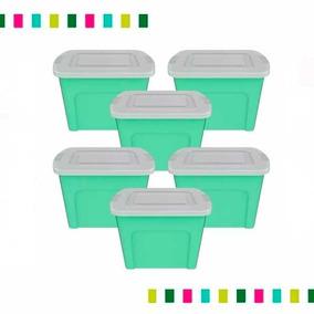 Combo 5 Contenedores Eco Box 80 Lts +1 De Regalo Verde