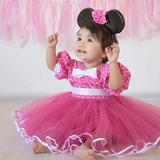 Vestido Minnie Con Pollera Tutu Mas Vincha Con Orejas