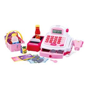 Caixa Máquina Registradora Infantil Acessórios Som Luz Rosa