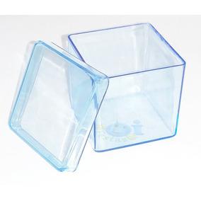 35 Caixinha Acrílica 5x5 - Azul Transparente - Lembrancinha