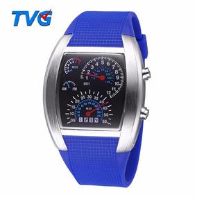 Relógio Led Display Binário Rpm Velocímetro Led Azul