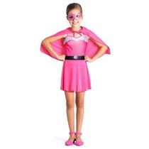 Fantasia Barbie Super Princesa Pop Rosa Sulamericana