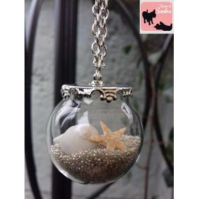 Collar Esfera De Vidrio Con Estrella De Mar Y Conchitas!!!