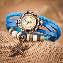 Relógio Feminino Vintage - Pulseira Bracelete Couro