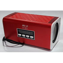 Caixa Som Mini Sound Box Mr. D D-061 Fm/usb/sd Card Vermelho